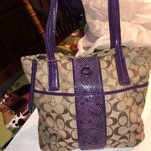 Coach tan/purple leather medium zip purse